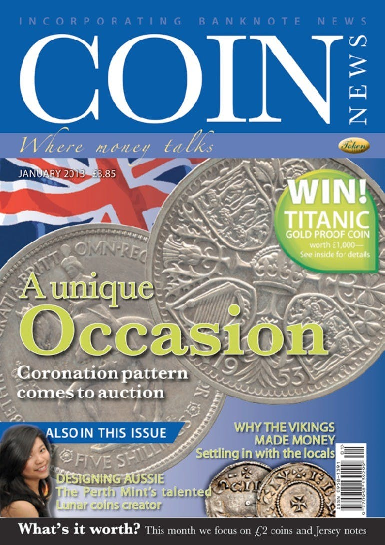 Front cover of 'A unique Occasion', Coin News January 2013, Volume 50, Number 1 by Token Publishing