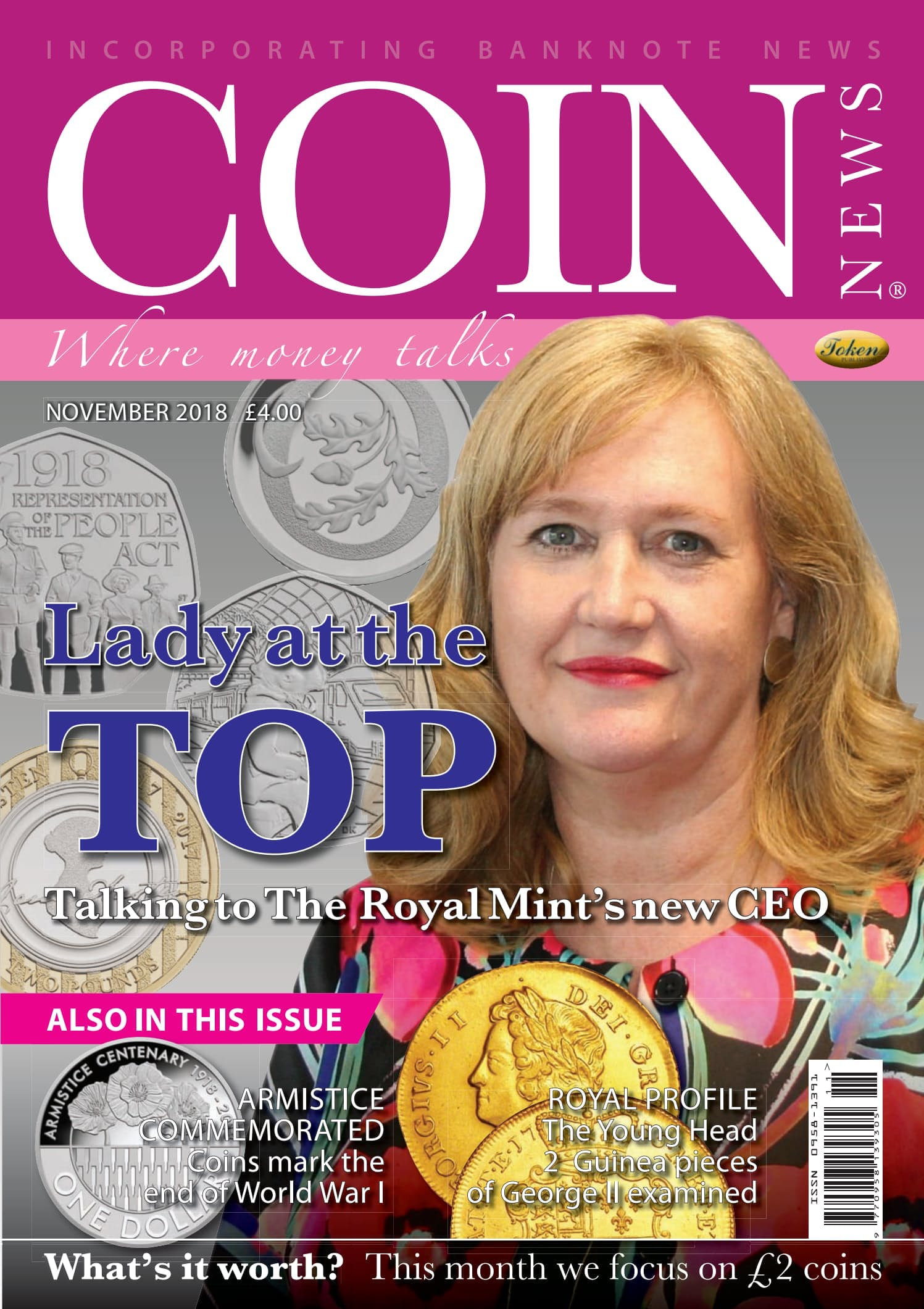 The front cover of Coin News, November 2018 - Volume 55, Number 11
