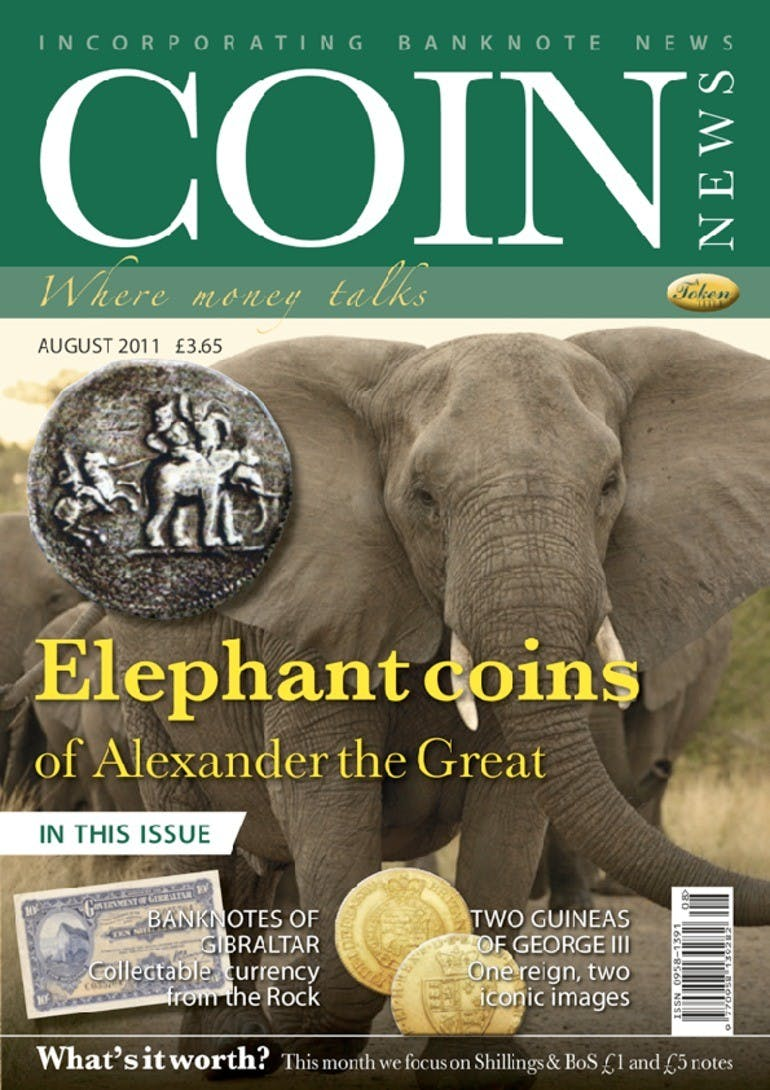 Front cover of 'Elephant coins', Coin News August 2011, Volume 48, Number 8 by Token Publishing