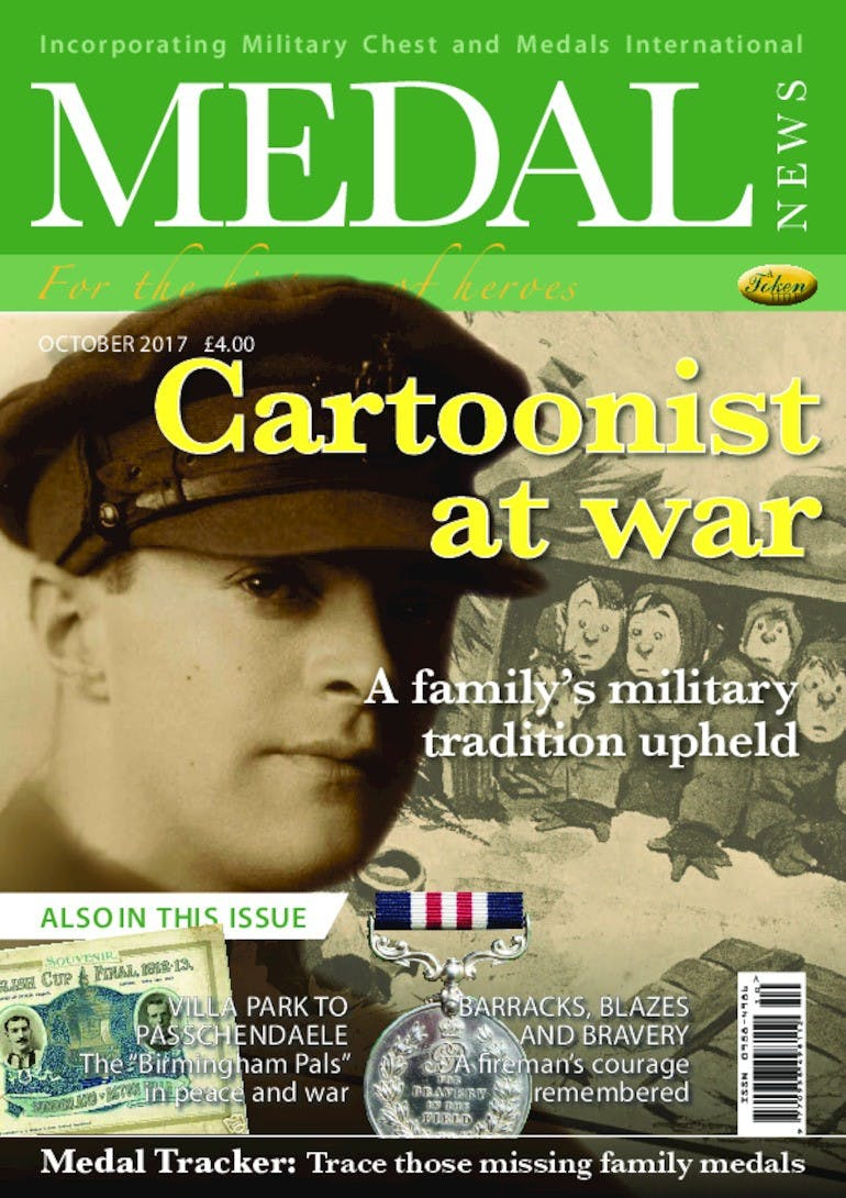 Front cover of 'Cartoonist at war', Medal News October 2017, Volume 55, Number 9 by Token Publishing