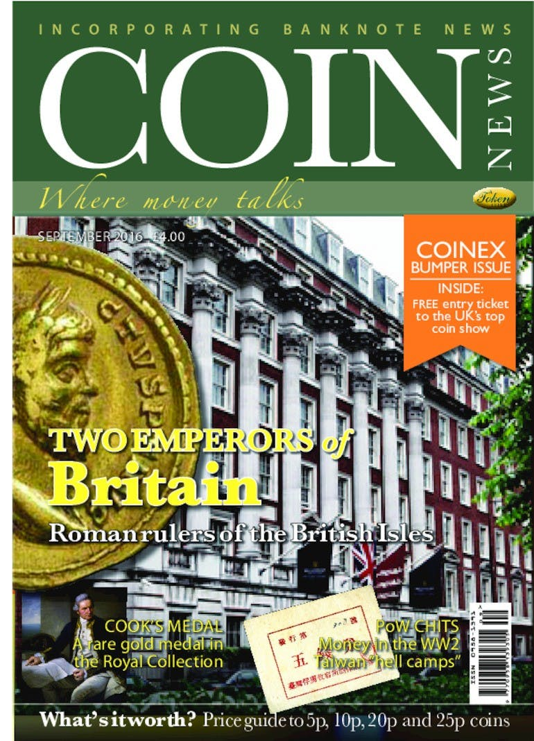Front cover of 'Two Emperors of Britain', Coin News September 2016, Volume 53, Number 9 by Token Publishing