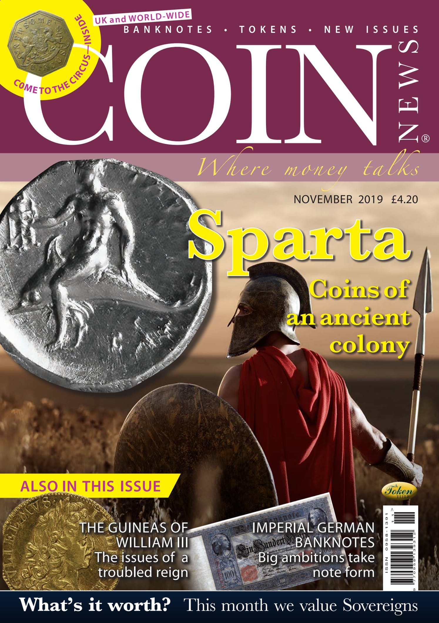 Front cover of 'Sparta', Coin News November 2019, Volume 56, Number 11 by Token Publishing
