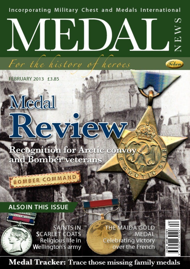 Front cover of 'Medal Review', Medal News February 2013, Volume 51, Number 2 by Token Publishing