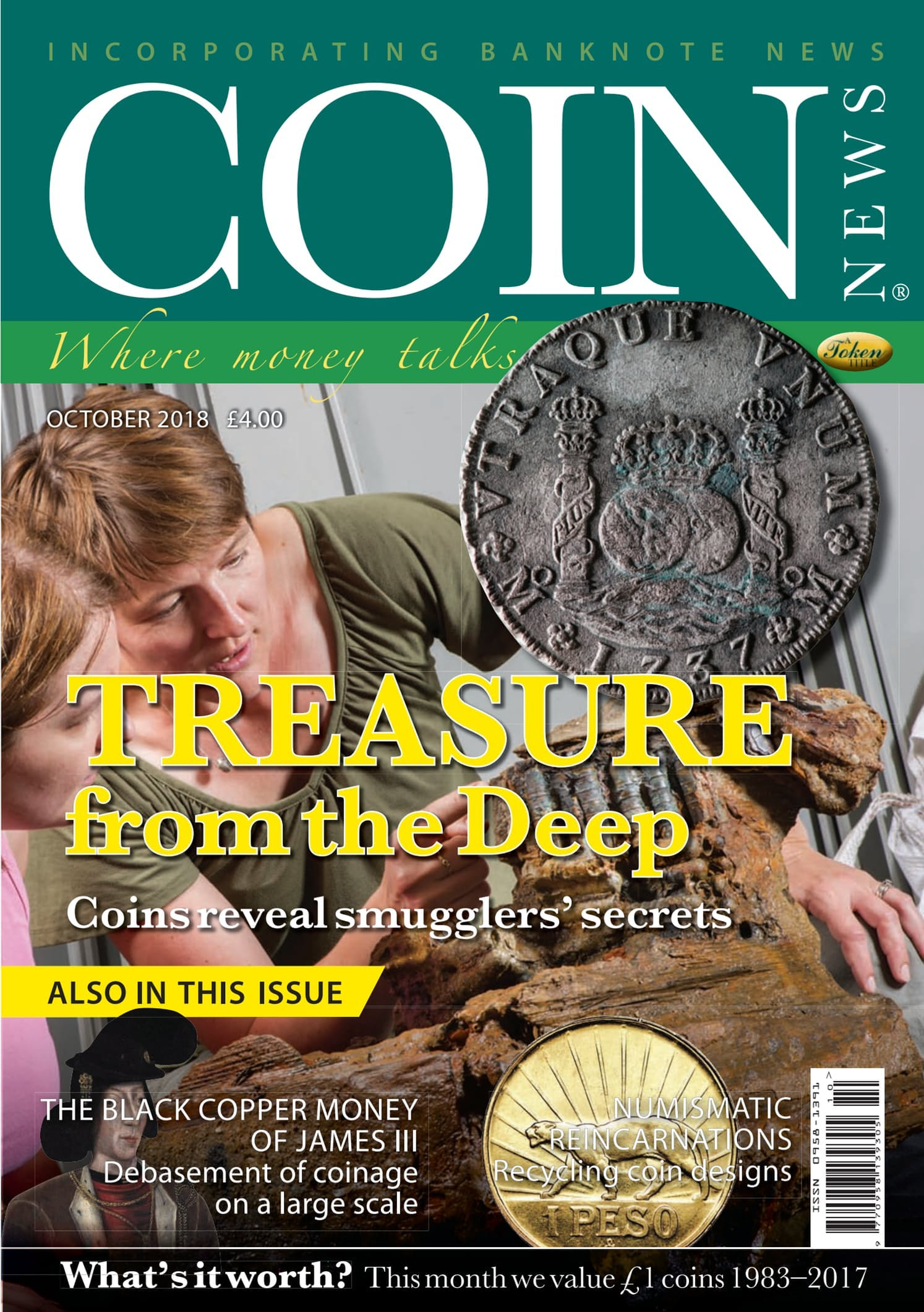 Front cover of 'Treasure from the deep', Coin News October 2018, Volume 55, Number 10 by Token Publishing