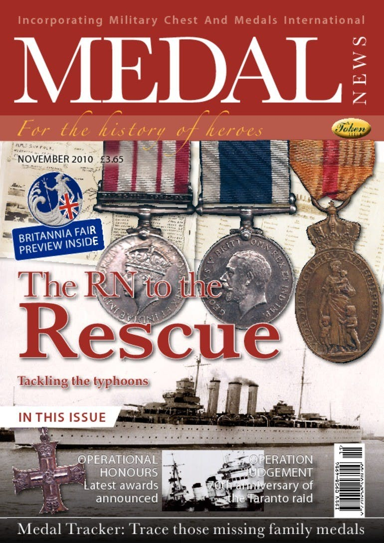 Front cover of 'The RN to the rescue', Medal News November 2010, Volume 48, Number 10 by Token Publishing
