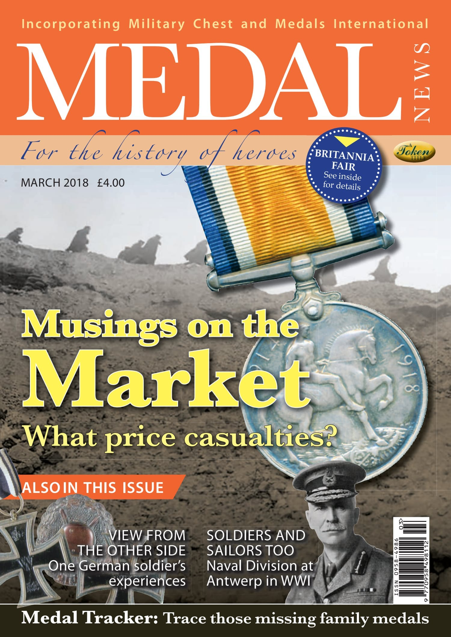 The front cover of Medal News, March 2018 - Volume 56, Number 3