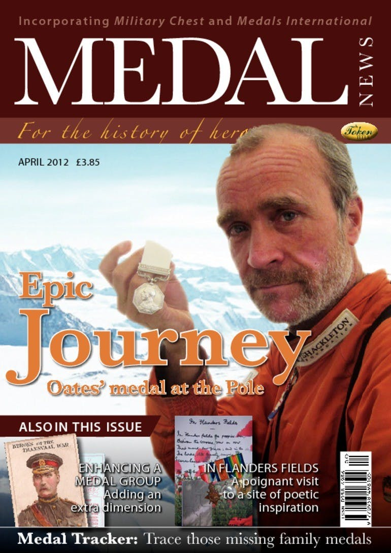 Front cover of 'Epic Journey', Medal News April 2012, Volume 50, Number 4 by Token Publishing