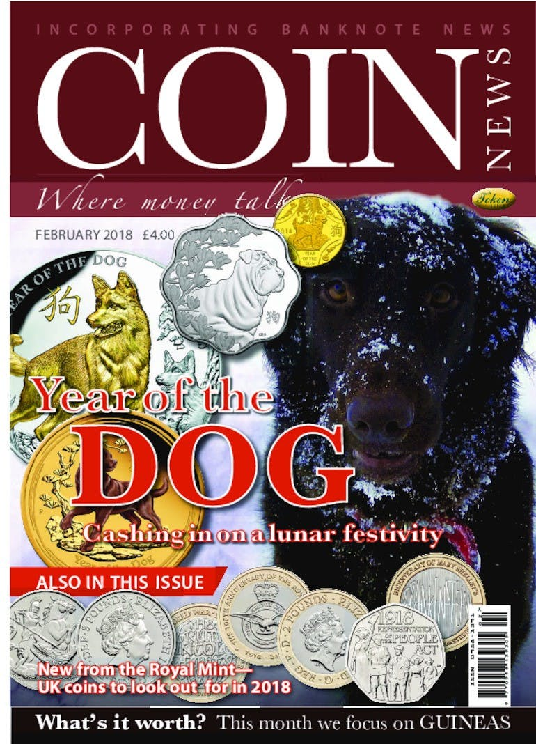 Front cover of 'Year of the Dog', Coin News February 2018, Volume 55, Number 2 by Token Publishing