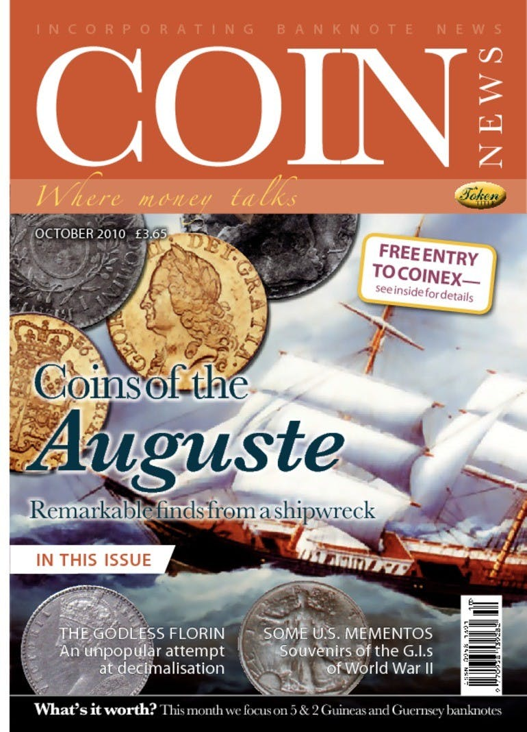 Front cover of 'Coins of Auguste', Coin News October 2010, Volume 47, Number 10 by Token Publishing