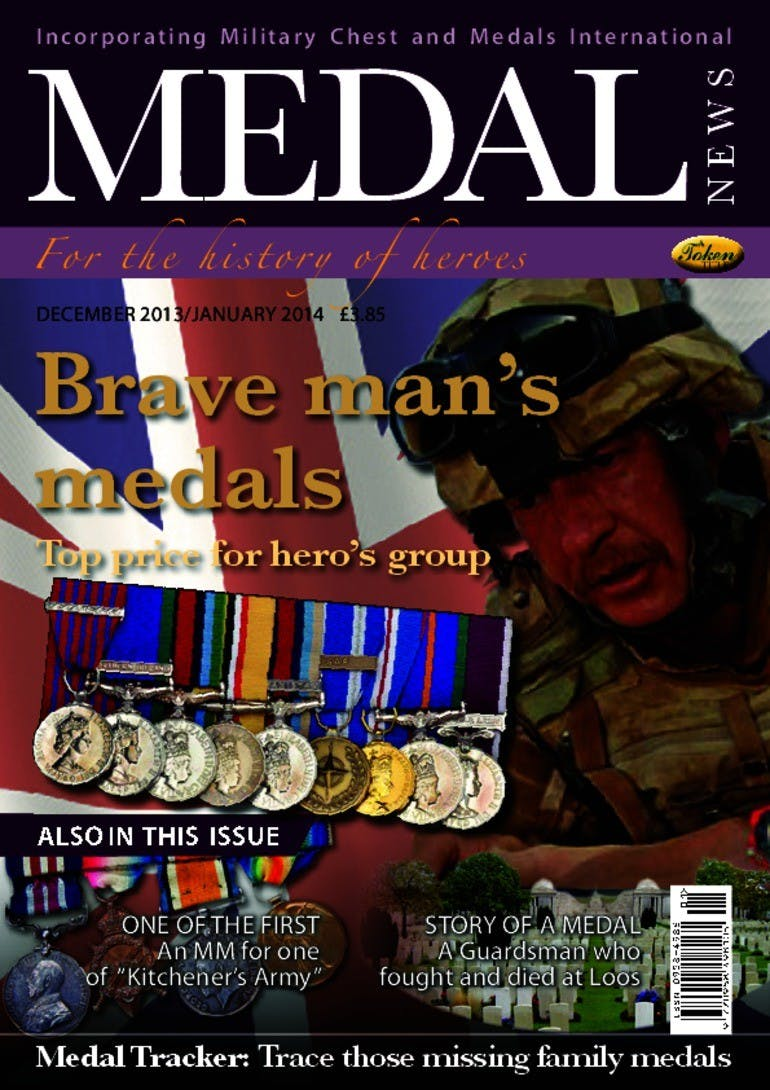 Front cover of 'Brave man's medals', Medal News December 2013, Volume 52, Number 1 by Token Publishing