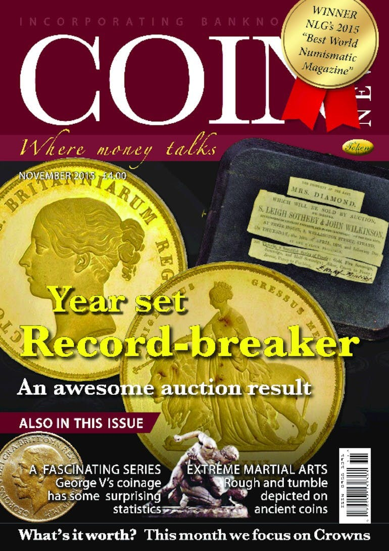 Front cover of 'Year set Record-breaker', Coin News November 2015, Volume 52, Number 11 by Token Publishing