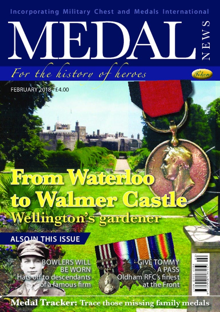 The front cover of Medal News, February 2018 - Volume 56, Number 2