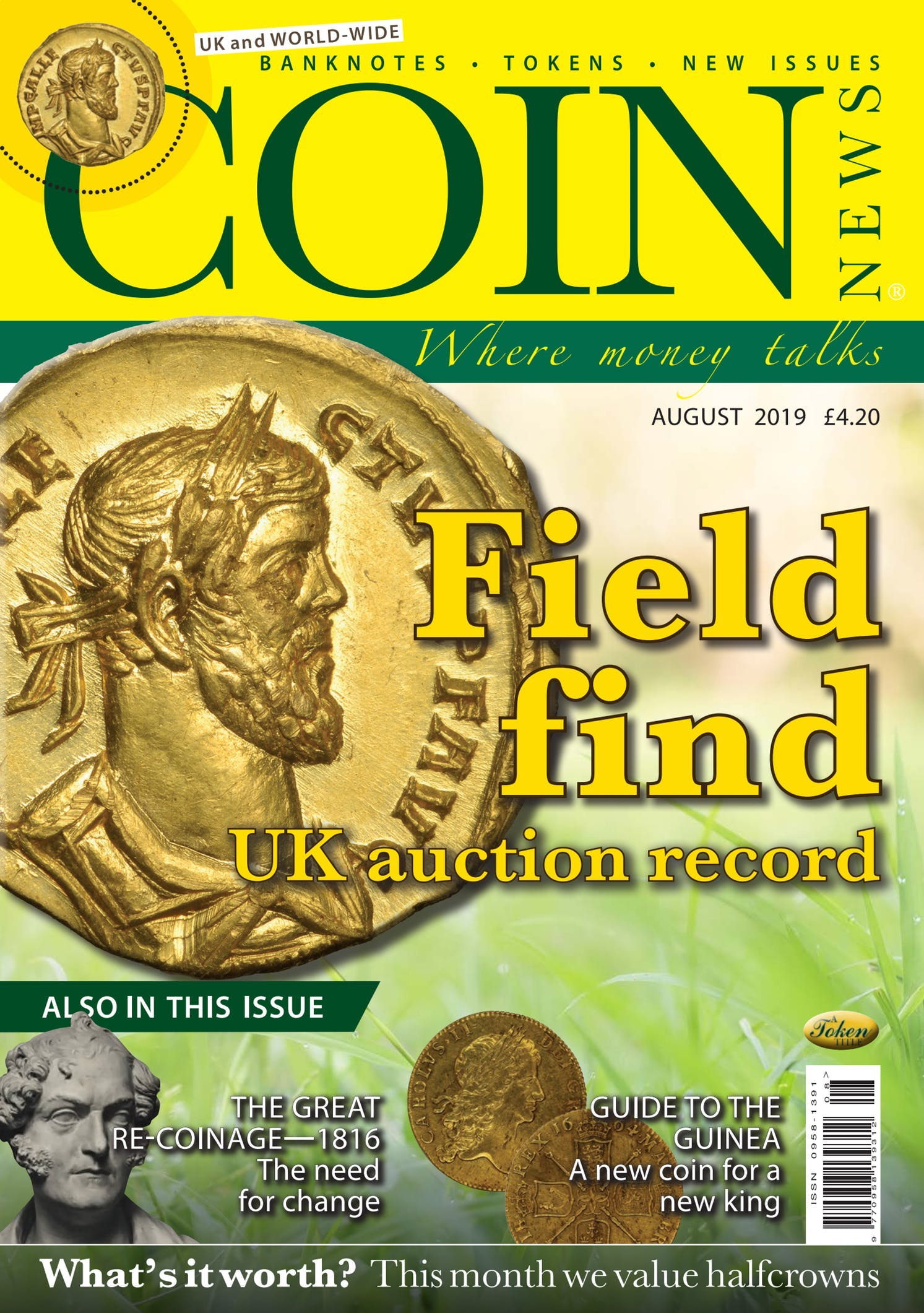 Front cover of 'Field Find', Coin News August 2019, Volume 56, Number 8 by Token Publishing