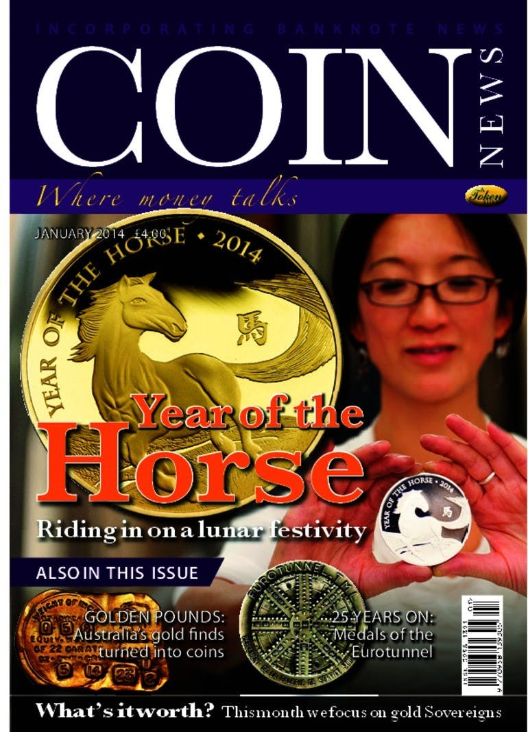 Front cover of 'Year of the Horse', Coin News January 2014, Volume 51, Number 1 by Token Publishing