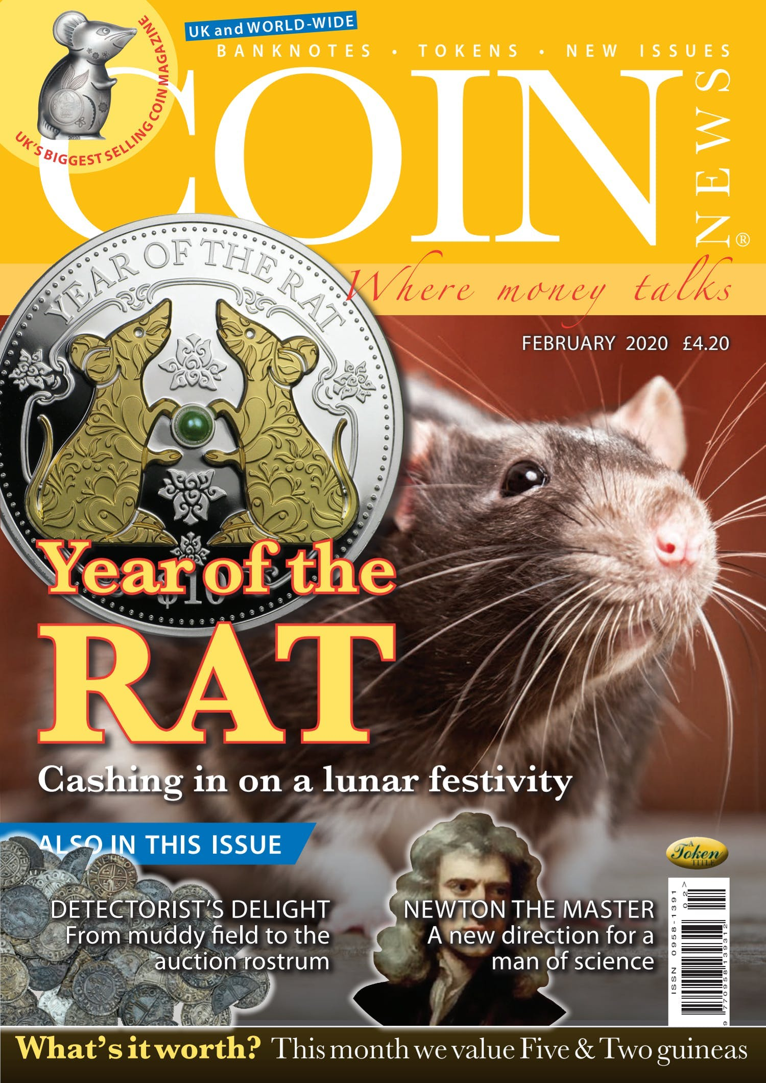 Front cover of 'Year of the rat', Coin News February 2020, Volume 57, Number 2 by Token Publishing