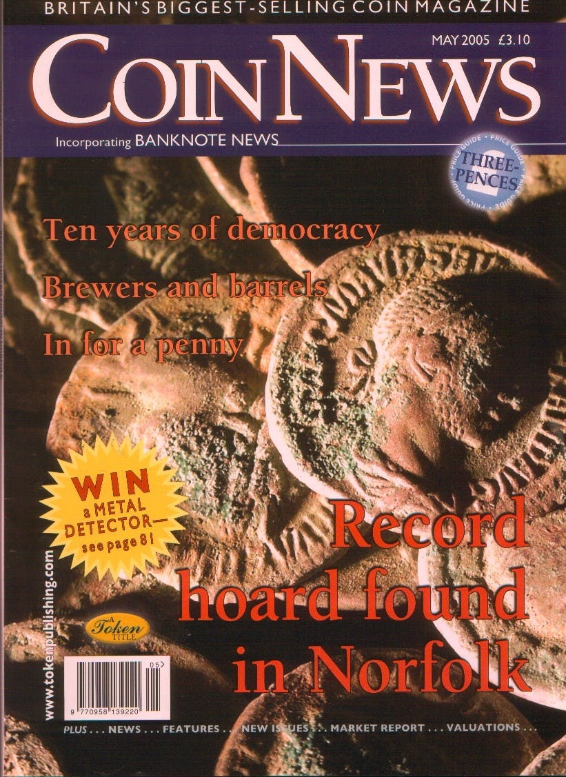 Front cover of 'An age old question', Coin News May 2005, Volume 42, Number 5 by Token Publishing