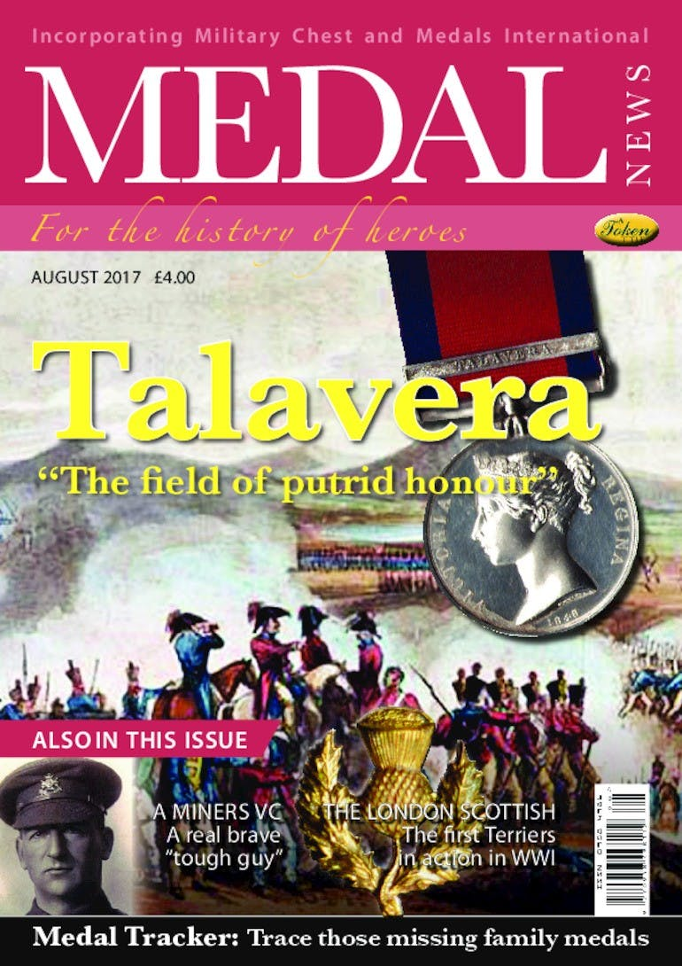Front cover of 'Talavera', Medal News August 2017, Volume 55, Number 7 by Token Publishing