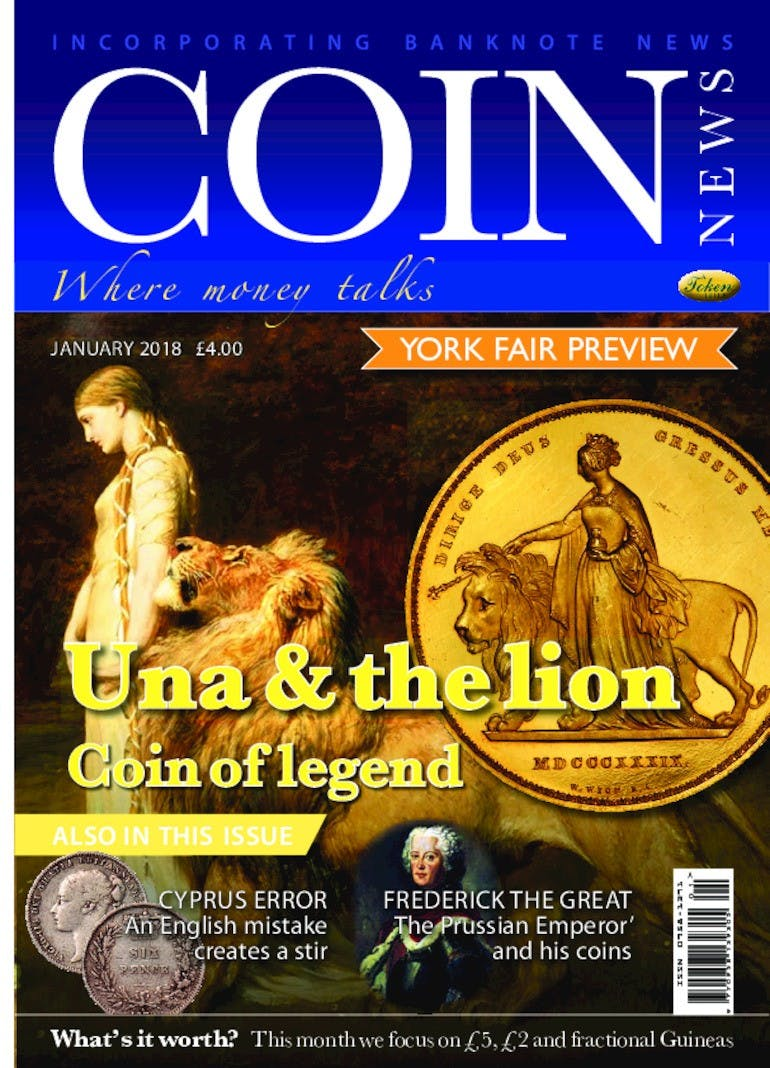 Front cover of 'Una and the Lion', Coin News January 2018, Volume 55, Number 1 by Token Publishing