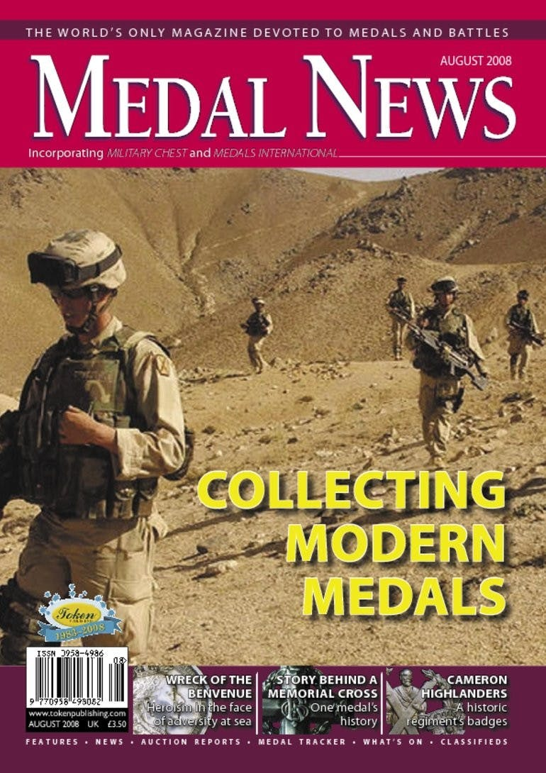 Front cover of 'Collecting Modern Medals', Medal News August 2008, Volume 46, Number 7 by Token Publishing