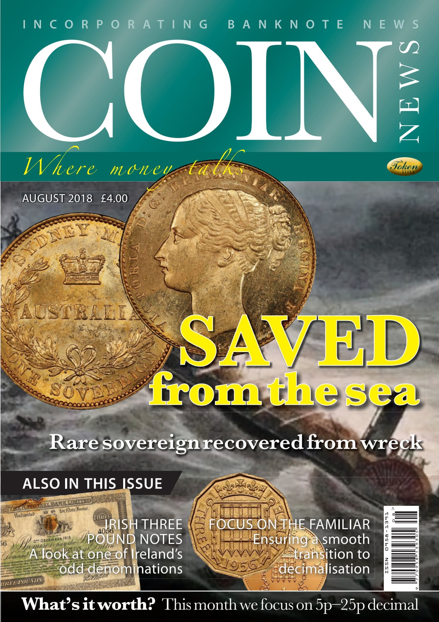 Front cover of 'Saved from the sea', Coin News August 2018, Volume 55, Number 8 by Token Publishing