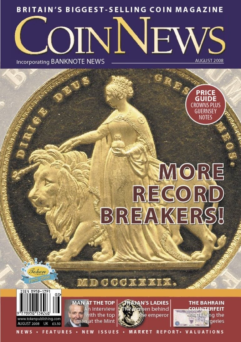 Front cover of 'More record breakers', Coin News August 2008, Volume 45, Number 8 by Token Publishing