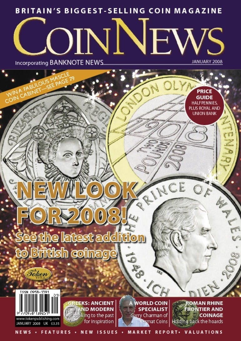 Front cover of 'New look for 2008!', Coin News January 2008, Volume 45, Number 1 by Token Publishing