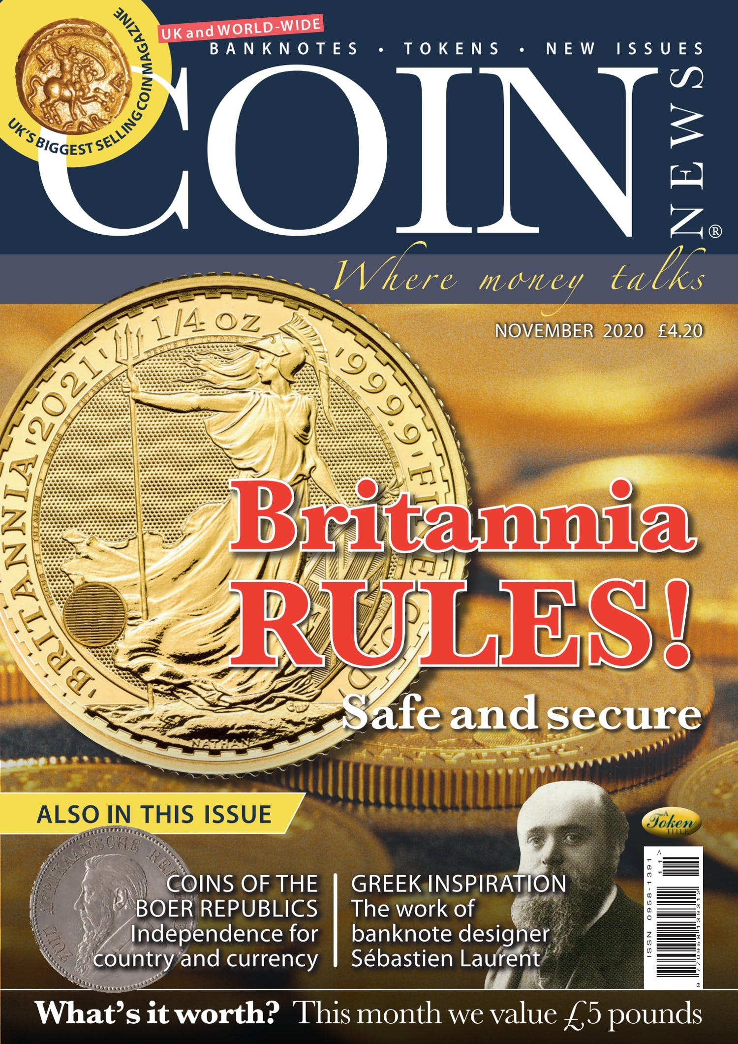 Front cover of 'Britannia Rules!', Coin News November 2020, Volume 57, Number 11 by Token Publishing