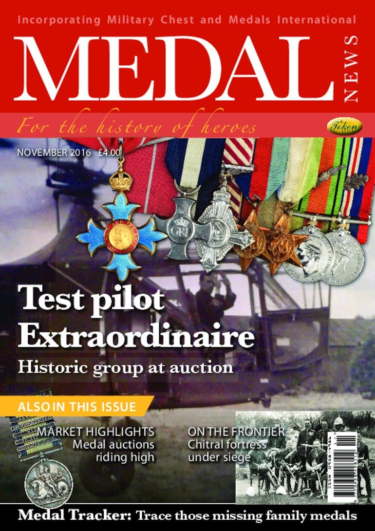 Front cover of 'Test Pilot Extraordinaire', Medal News November 2016, Volume 54, Number 10 by Token Publishing