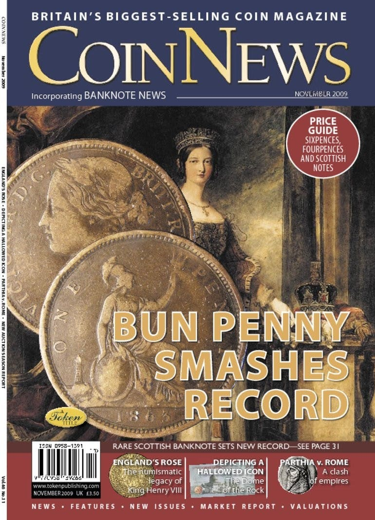 Front cover of 'Bun penny smashes record', Coin News November 2009, Volume 46, Number 11 by Token Publishing