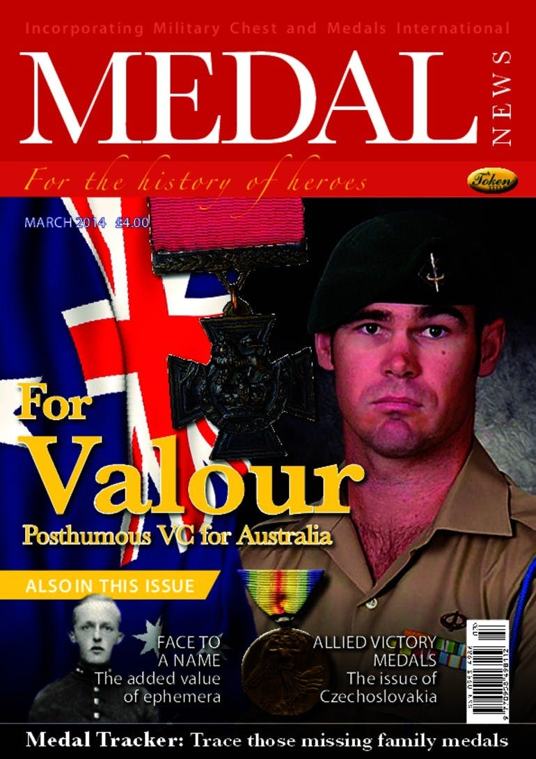 Front cover of 'For Valour', Medal News March 2014, Volume 52, Number 3 by Token Publishing