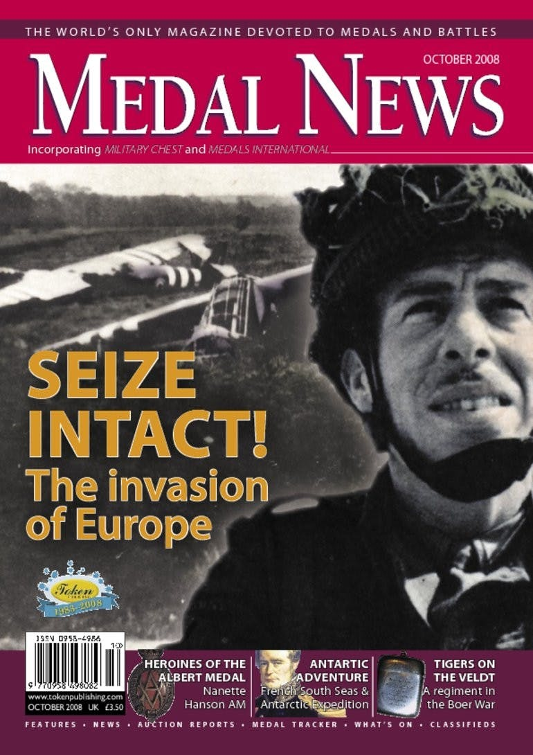 Front cover of 'Seize Intact! The invasion of Europe', Medal News October 2008, Volume 46, Number 9 by Token Publishing