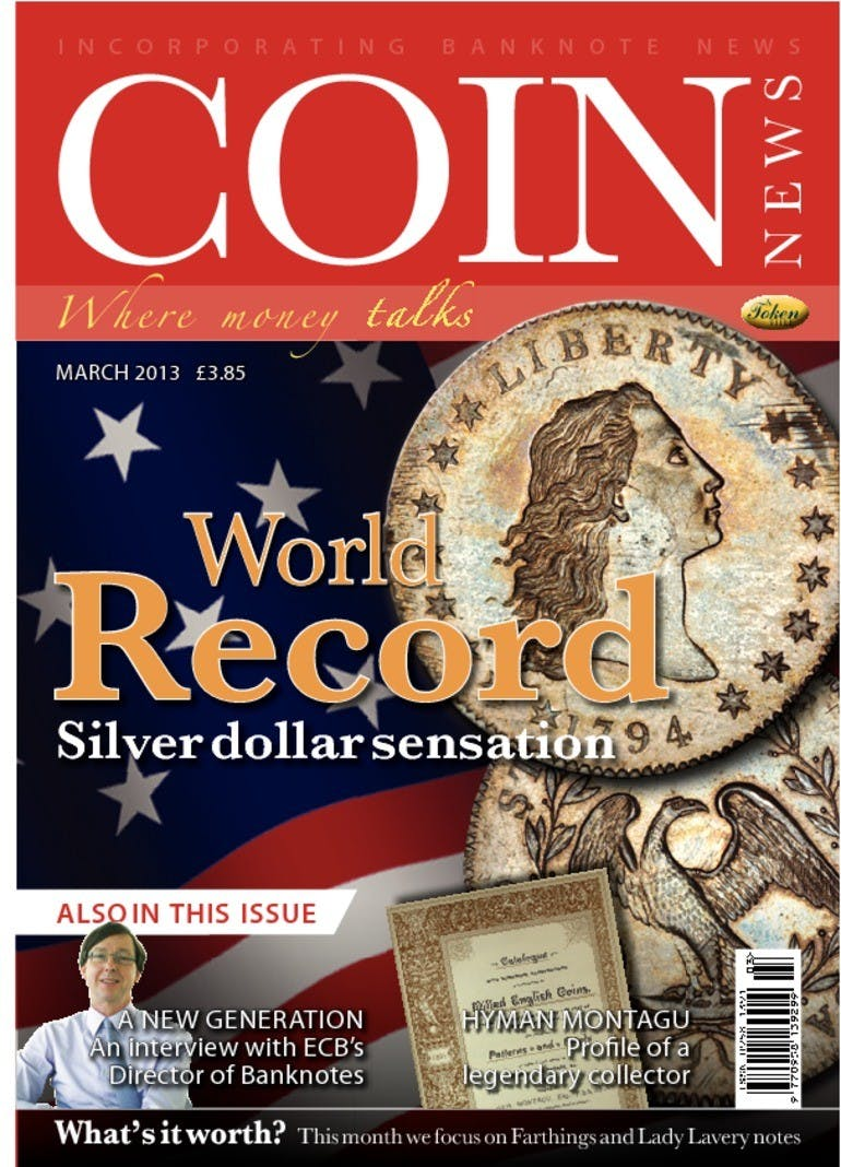Front cover of 'World Record', Coin News March 2013, Volume 50, Number 3 by Token Publishing