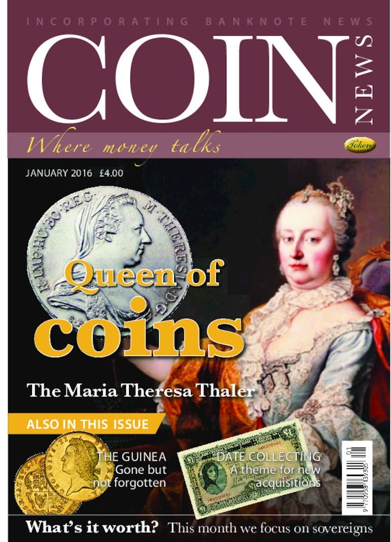 Front cover of 'Queen of Coins', Coin News January 2016, Volume 53, Number 1 by Token Publishing