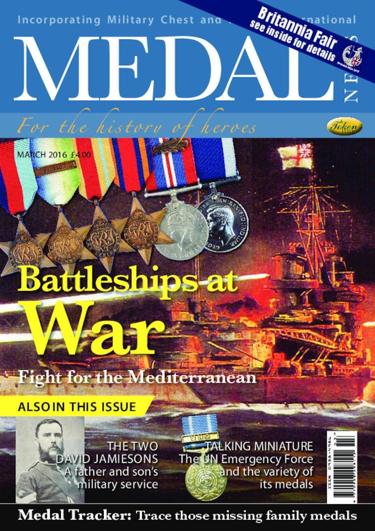 Front cover of 'Battleships at war', Medal News March 2016, Volume 54, Number 3 by Token Publishing