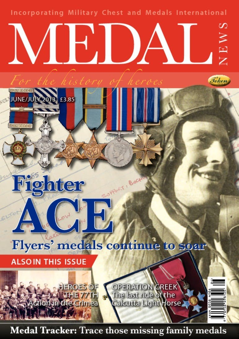 Front cover of 'Fighter Ace', Medal News June 2013, Volume 51, Number 6 by Token Publishing