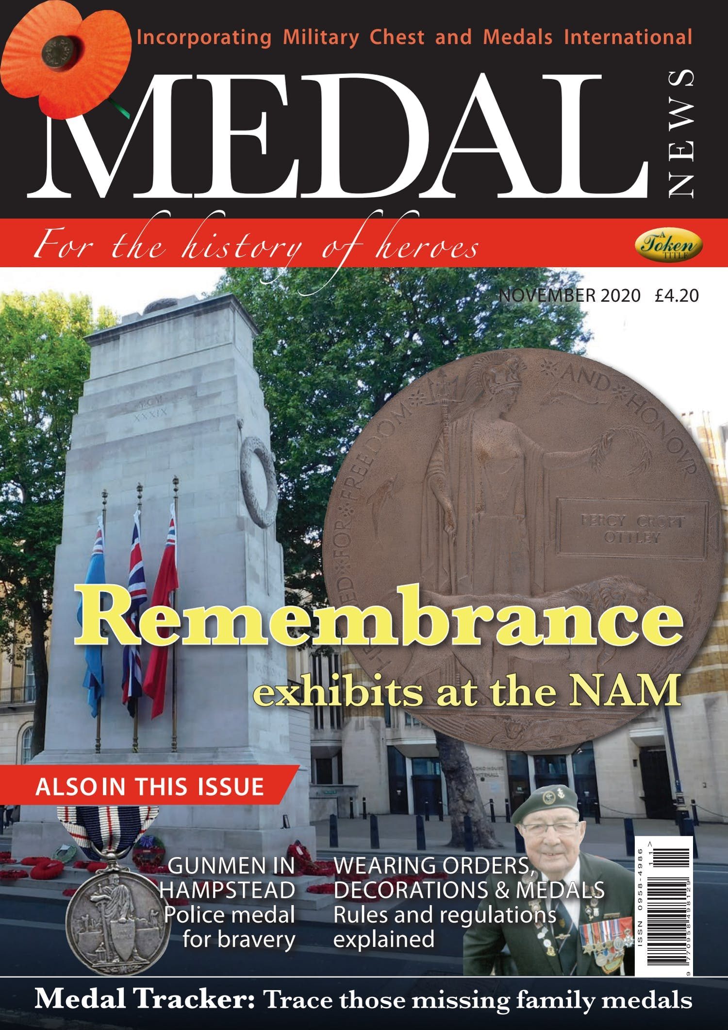 Front cover of 'Rememberance exhibits at the NAM', Medal News November 2020, Volume 58, Number 10 by Token Publishing