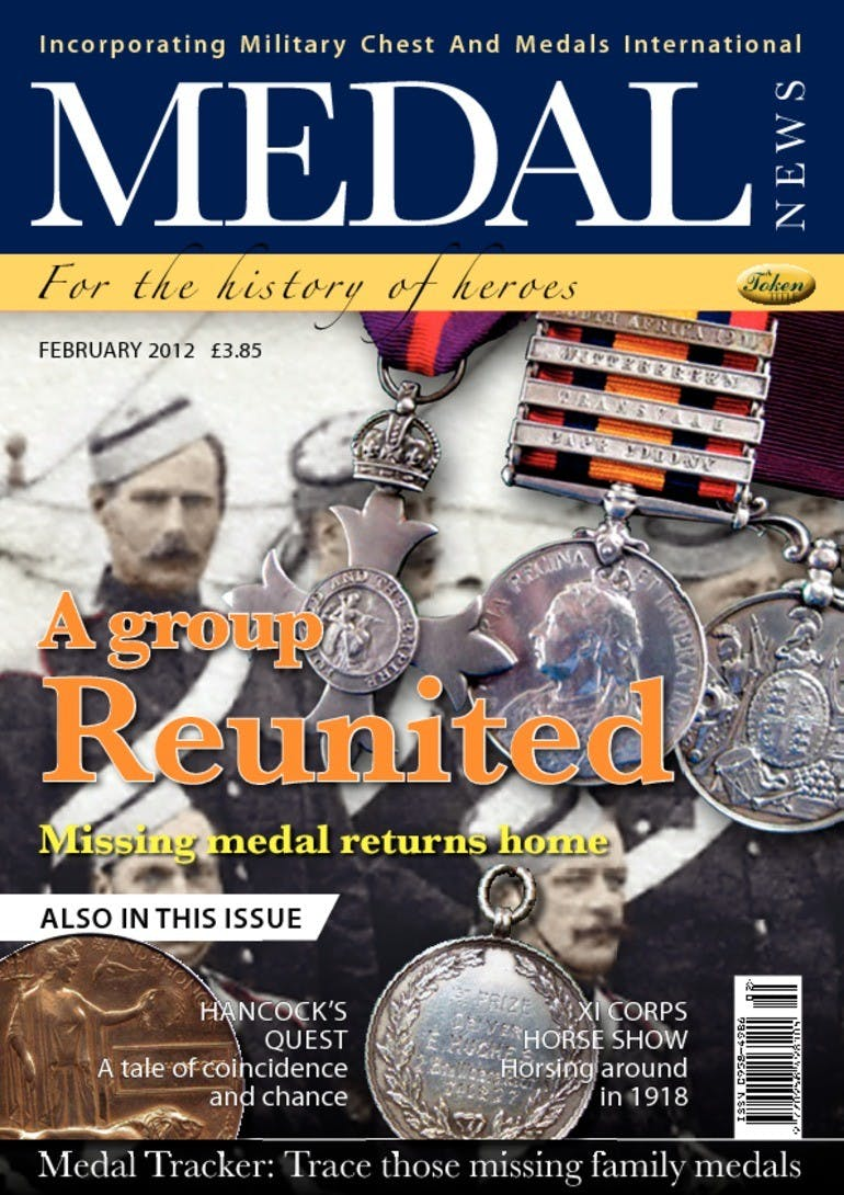 Front cover of 'A group reunited - No Longer Available to Purchase', Medal News February 2012, Volume 50, Number 2 by Token Publishing