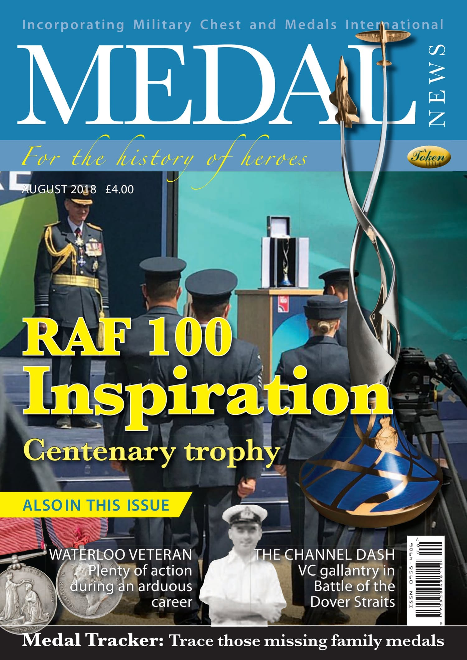 Front cover of 'RAF 100 Inspiration', Medal News August 2018, Volume 56, Number 7 by Token Publishing
