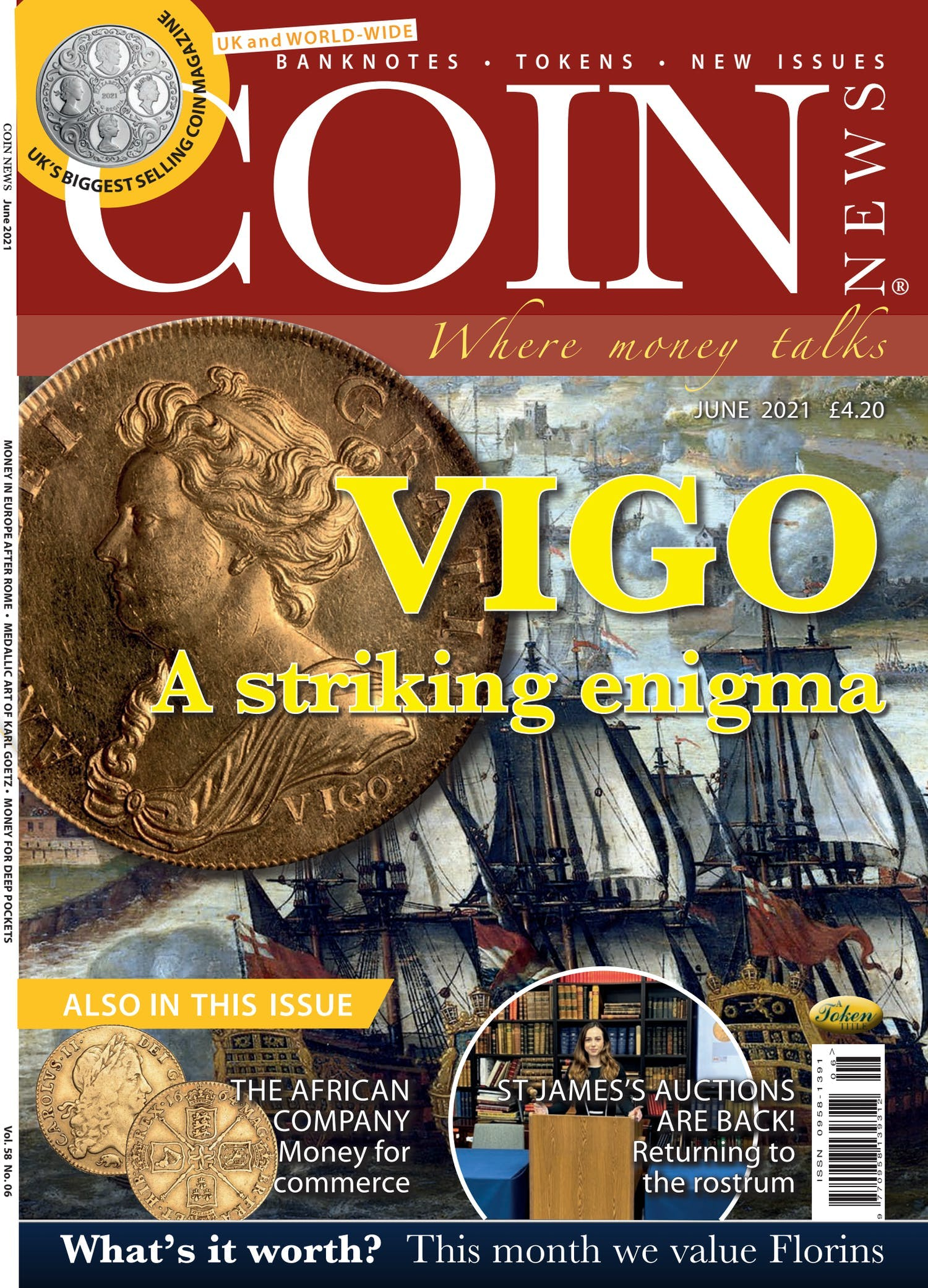 Front cover of 'VIGO', Coin News June 2021, Volume 58, Number 6 by Token Publishing