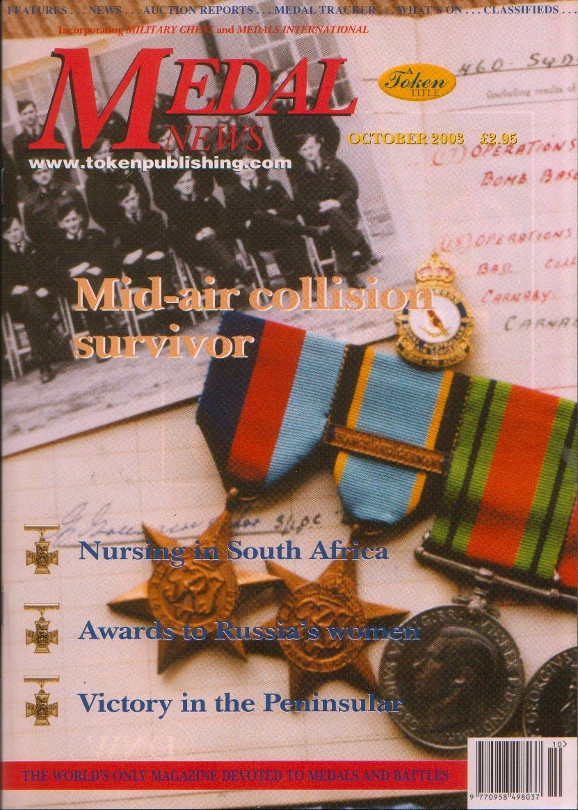 Front cover of 'Mid air collision survivor', Medal News October 2003, Volume 41, Number 9 by Token Publishing