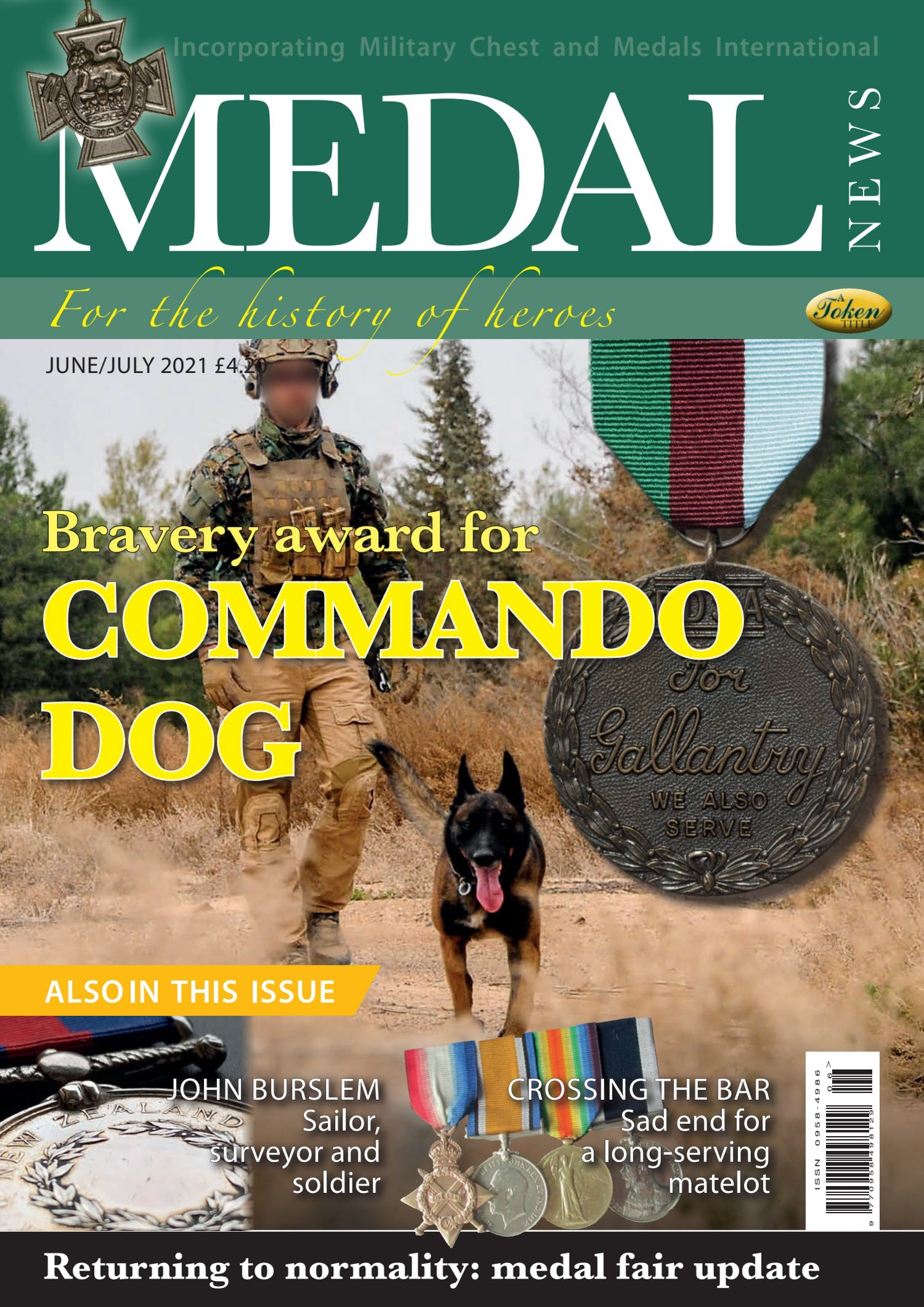 Front cover of 'Commando Dog', Medal News June 2021, Volume 59, Number 6 by Token Publishing