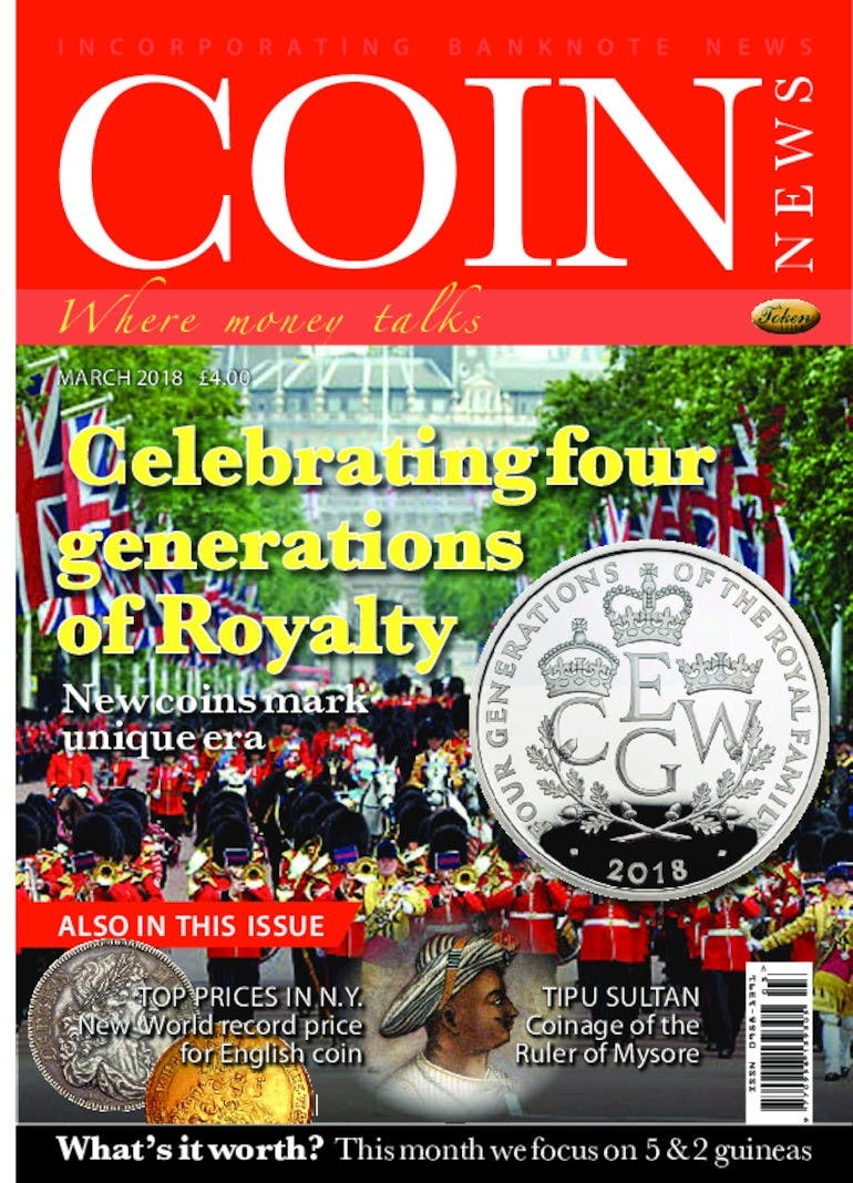The front cover of Coin News, March 2018 - Volume 55, Number 3