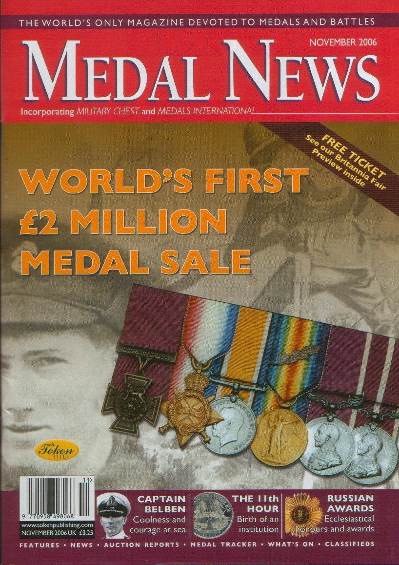 Front cover of 'Owners or guardians?', Medal News November 2006, Volume 44, Number 10 by Token Publishing