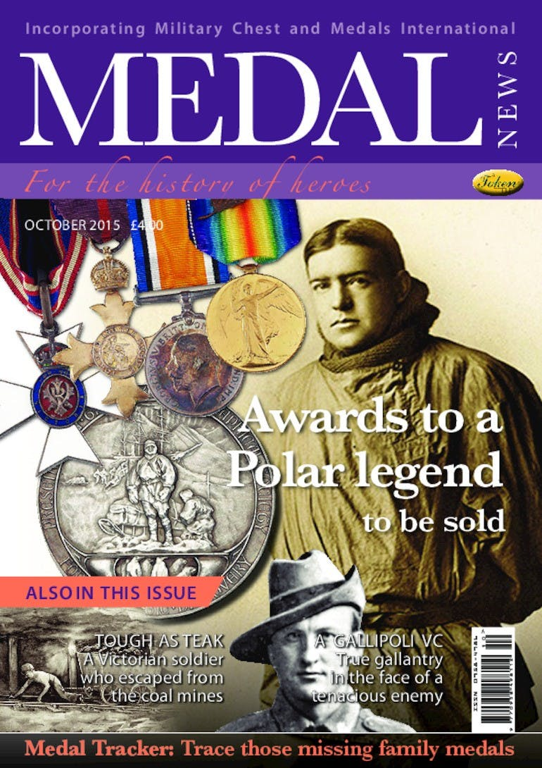 Front cover of 'Awards to a Polar legend', Medal News October 2015, Volume 53, Number 9 by Token Publishing