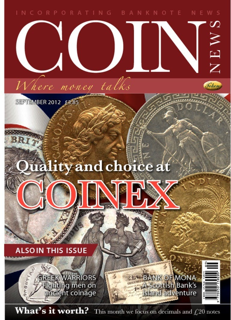 Front cover of 'COINEX', Coin News September 2012, Volume 49, Number 9 by Token Publishing