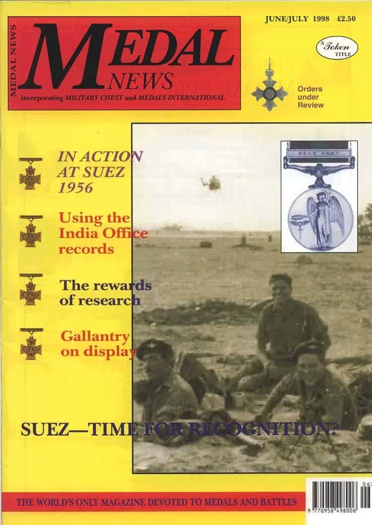 Front cover of 'From the Editor's desk', Medal News June 1998, Volume 36, Number 6 by Token Publishing