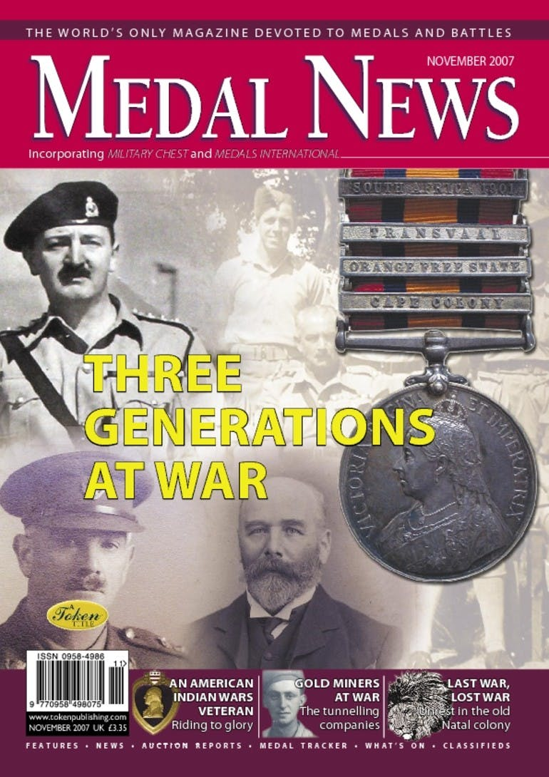 Front cover of 'Three generations at war', Medal News November 2007, Volume 45, Number 10 by Token Publishing