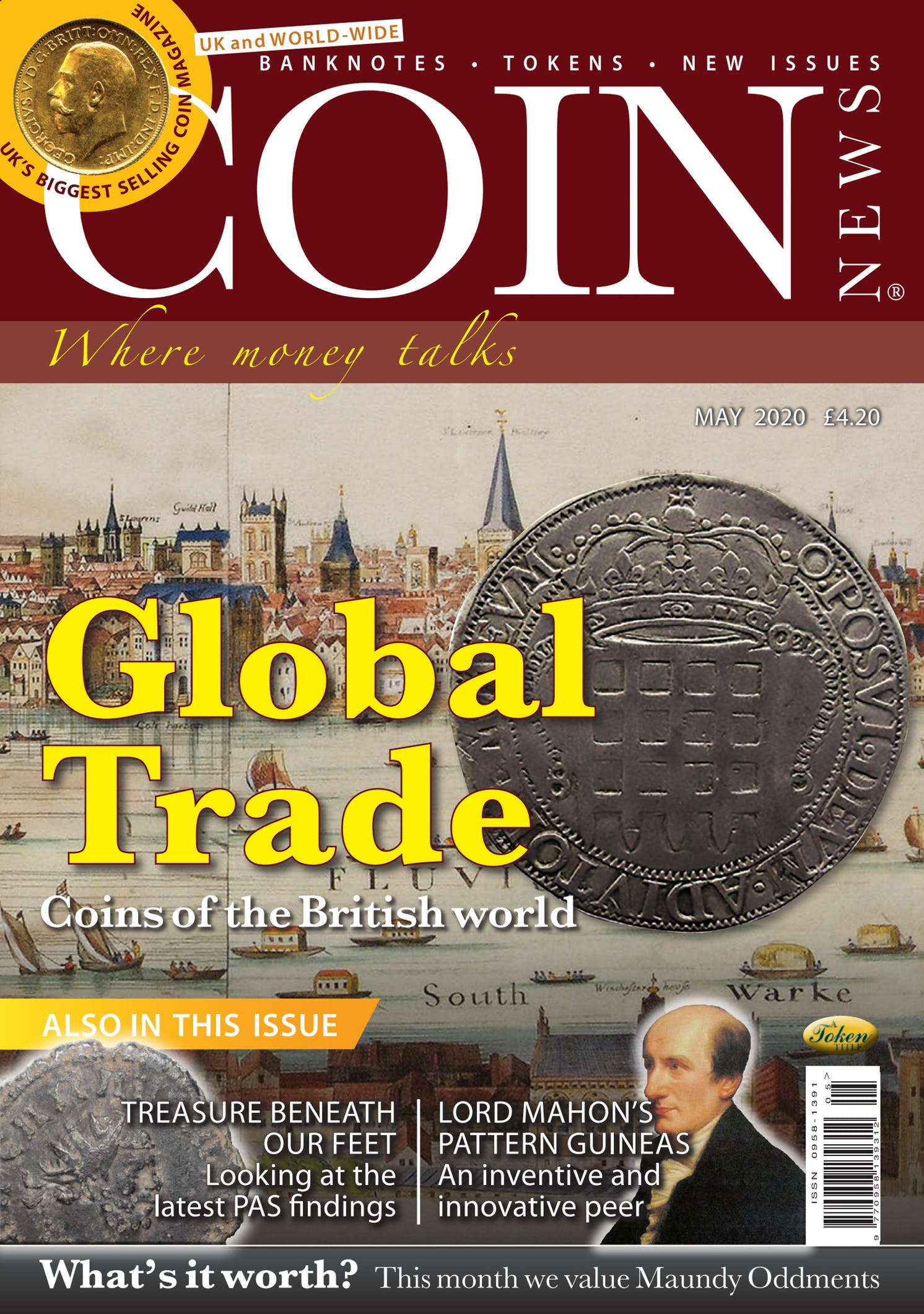 Front cover of 'Global Trade', Coin News May 2020, Volume 57, Number 5 by Token Publishing