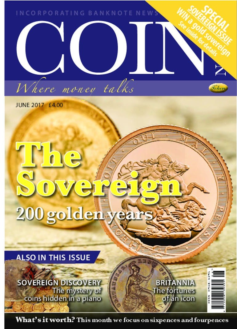 Front cover of 'The Sovereign', Coin News June 2017, Volume 54, Number 6 by Token Publishing
