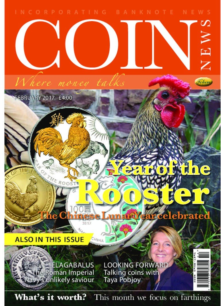 Front cover of 'Year of the Rooster', Coin News February 2017, Volume 54, Number 2 by Token Publishing
